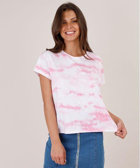 Blusa-Feminina-Ampla-Estampada-Tie-Dye-Manga-Curta-Decote-Redondo-Rosa-9771334-Rosa_1