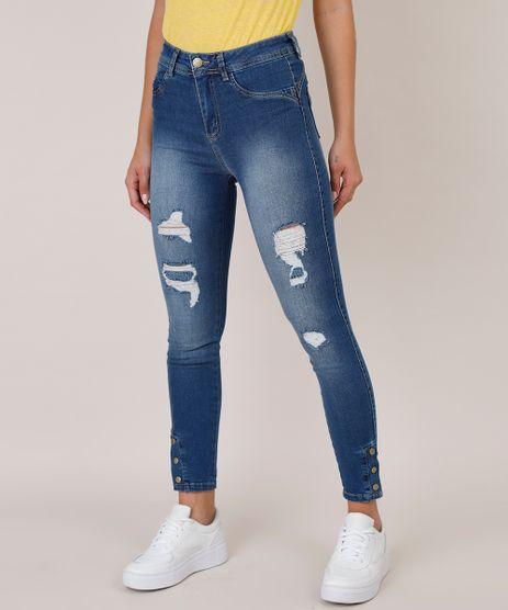 Calca-Jeans-Feminina-Sawary-Cigarrete-Pull-Up-com-Rasgos-e-Botoes-Azul-Claro-9835994-Azul_Claro_1