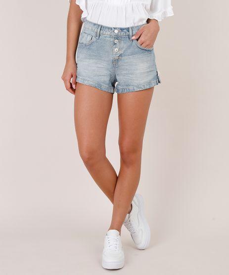 Short-Jeans-Feminino-Reto-com-Botoes-e-Fendas-Azul-Medio-9766243-Azul_Medio_1