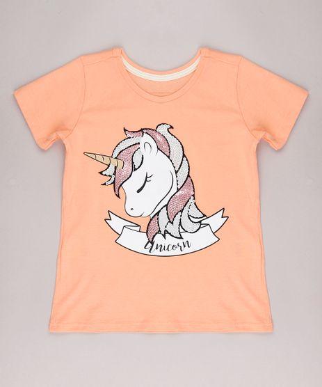 Blusa-Infantil-Unicornio-com-Paete-Manga-Curta-Laranja-9744611-Laranja_1