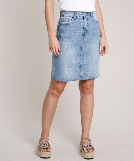 Saia-Jeans-Feminina-Curta-com-Fenda-Barra-a-Fio-Azul-Medio-9766691-Azul_Medio_1