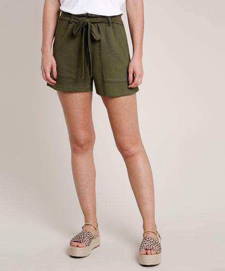 Short-Feminino-em-Moletom-com-Amarracao-Verde-Militar-9735905-Verde_Militar_1