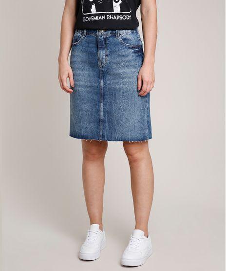 Saia-Jeans-Feminina-Curta-com-Fenda-Barra-a-Fio-Azul-Escuro-9766692-Azul_Escuro_1