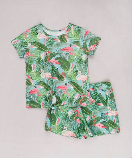 Conjunto-Infantil-de-Blusa-Estampada-de-Flamingos-Manga-Curta---Short-Verde-Agua-9762701-Verde_Agua_1