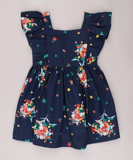 Vestido-Infantil-Estampado-Floral-com-Babado-Manga-Curta-Azul-Marinho-9740374-Azul_Marinho_1