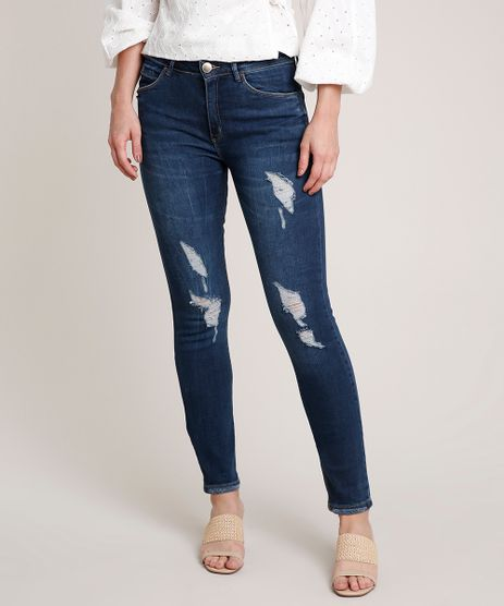 Calca-Jeans-Feminina-com-Rasgo-e-Puidos-Azul-Escuro-9753903-Azul_Escuro_1