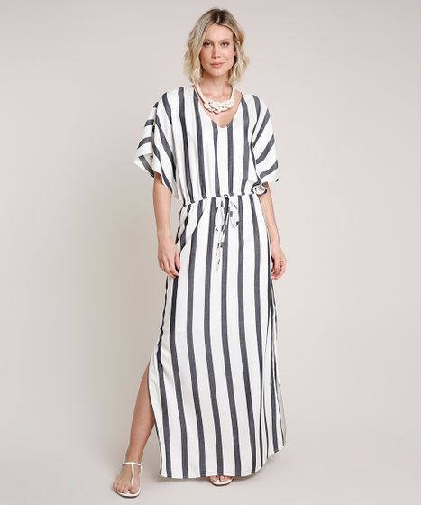 Vestido Feminino Longo Listrado Com Fendas Manga Curta Off White