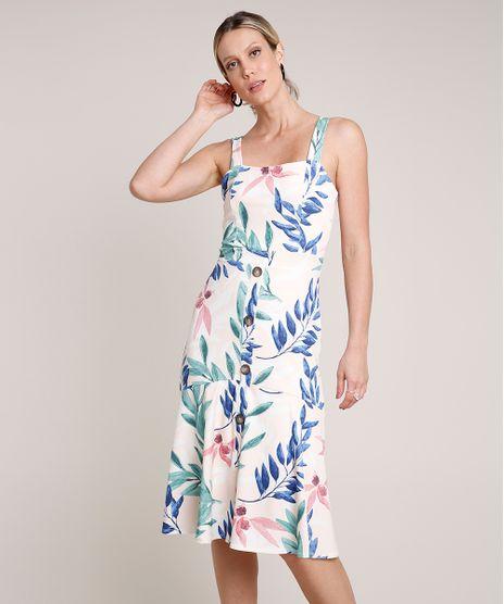 Vestido-Feminino-Midi-Estampado-de-Folhagem-com-Botoes-Alca-Media-Rose-9693994-Rose_1