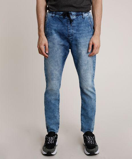 Calca-Jeans-Masculina-Slim-com-Puidos-e-Cordao-Azul-Medio-9769759-Azul_Medio_1