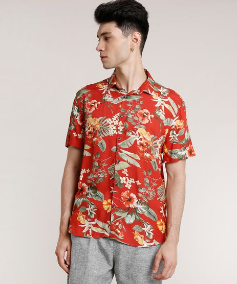 Camisa-Masculina-Tradicional-Estampada-Floral-Manga-Curta-Vermelho-9729637-Vermelho_1