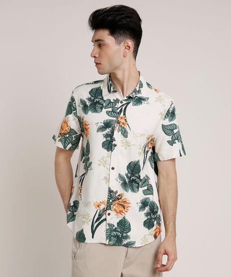 Camisa-Masculina-Tradicional-com-Linho-Estampada-Floral-Manga-Curta-Bege-Claro-9734603-Bege_Claro_1