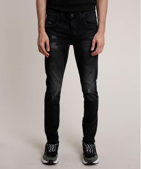 Calca-Jeans-Masculina-Skinny-com-Puidos-Preta-9757266-Preto_1