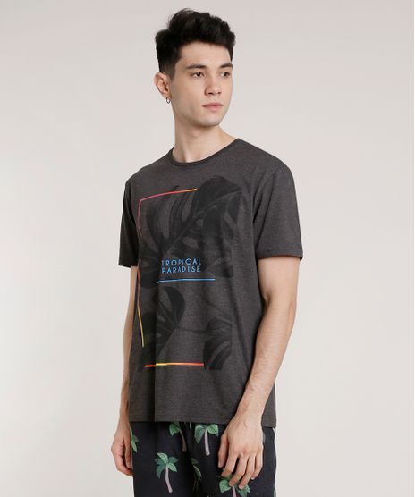 Camiseta-Masculina-Tropical-Paradise-Manga-Curta-Gola-Careca-Cinza-Mescla-Escuro-9717903-Cinza_Mescla_Escuro_1