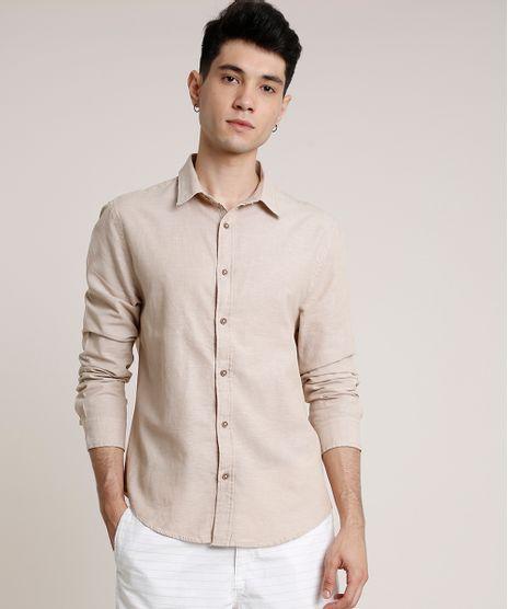Camisa-Masculina-Tradicional-com-Linho-Manga-Longa-Bege-9660414-Bege_1