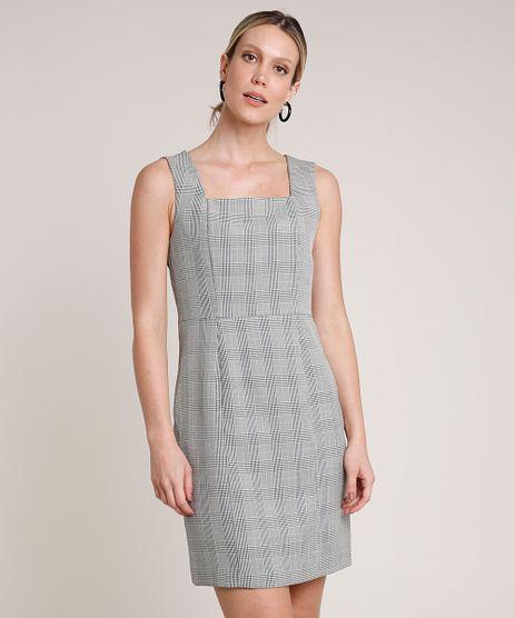 Vestido-Feminino-Curto-Estampado-Xadrez-com-Fenda-Sem-Manga-Cinza-9640738-Cinza_1