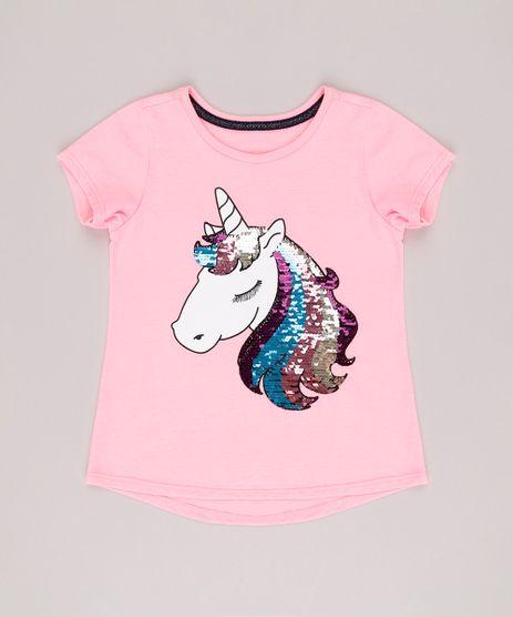 Blusa-Infantil-Unicornio-com-Paete-Dupla-Face-Manga-Curta-Decote-Redondo-Rosa-Neon-9131094-Rosa_Neon_1