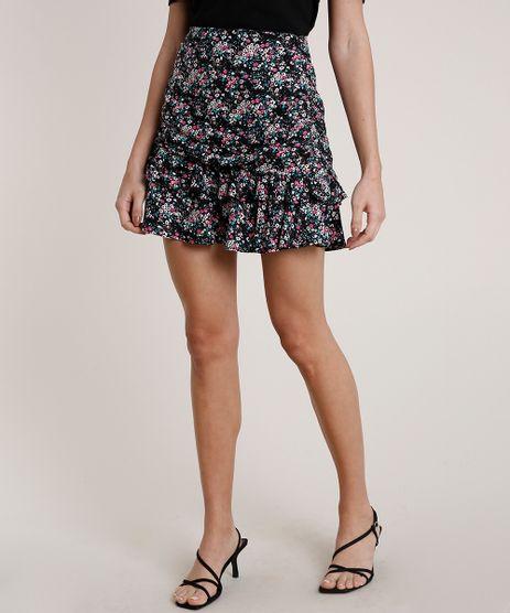 Saia-Feminina-Mindset-Curta-Estampada-Floral-em-Camadas-Preta-9830537-Preto_1