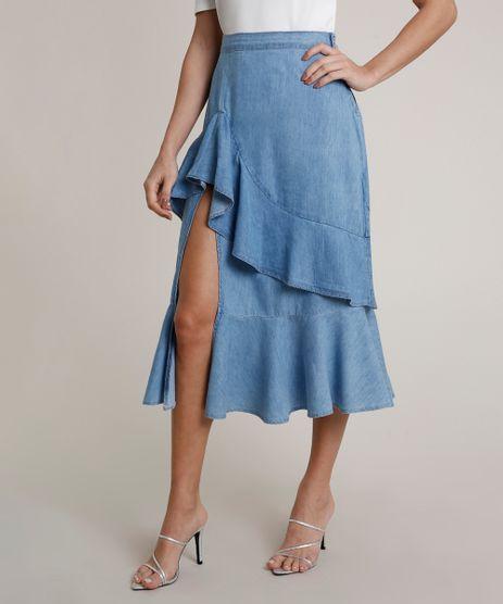 Saia-Jeans-Feminina-Mindset-Midi-com-Fenda-e-Babado-Azul-Claro-9825709-Azul_Claro_1