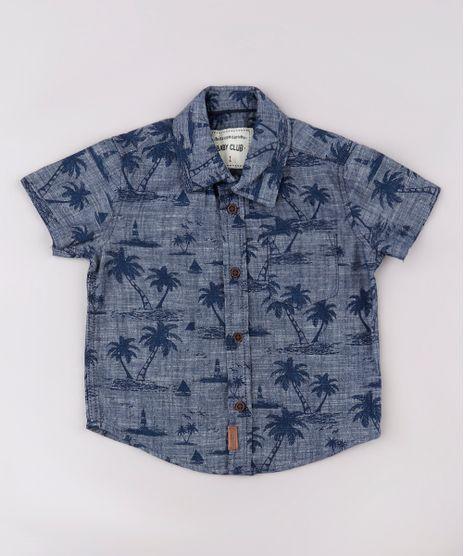 Camisa-Jeans-Infantil-Estampada-de-Coqueiros-com-Bolso-Manga-Curta-Azul-Escuro-9670874-Azul_Escuro_1