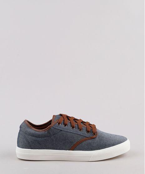 Tenis-Jeans-Masculino-Oneself-com-Recortes--Azul-Medio-9811995-Azul_Medio_1