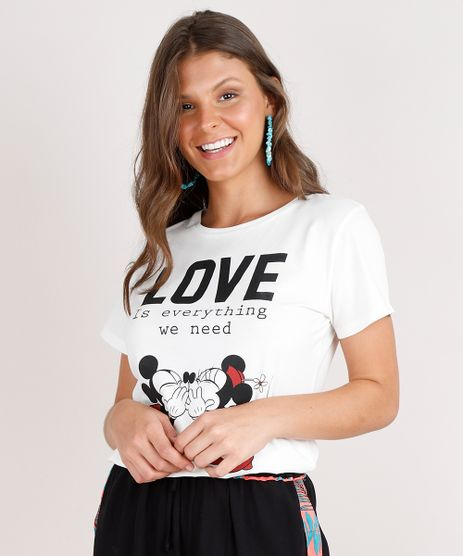 Blusa-Feminina-Mickey-e-Minnie--Love--Manga-Curta-Decote-Redondo-Off-White-9705930-Off_White_1