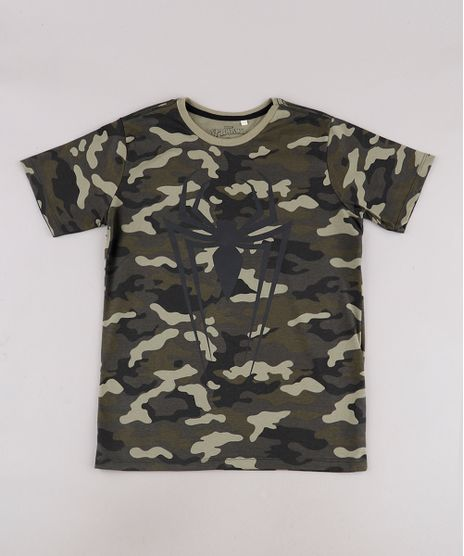 Camiseta-Infantil-Homem-Aranha-Estampada-Camuflada-Manga-Curta-Verde-Militar-9732787-Verde_Militar_1
