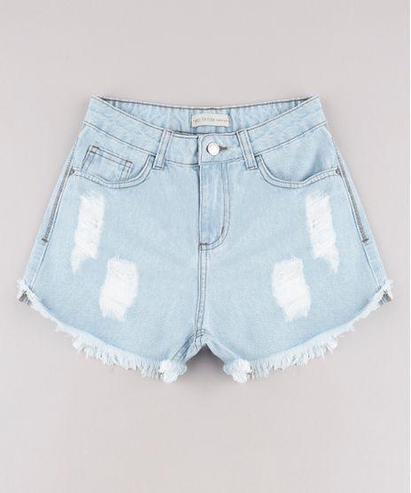 Short-Jeans-Infantil-Destroyed-com-Barra-Desfiada-Azul-Claro-9734895-Azul_Claro_1