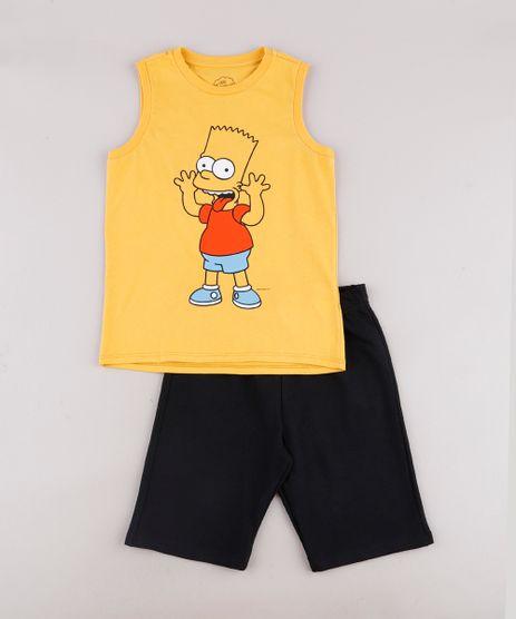 Conjunto-Infantil-de-Regata-Bart-Simpson-Mostarda---Bermuda-em-Moletom-Preta-9734838-Preto_1