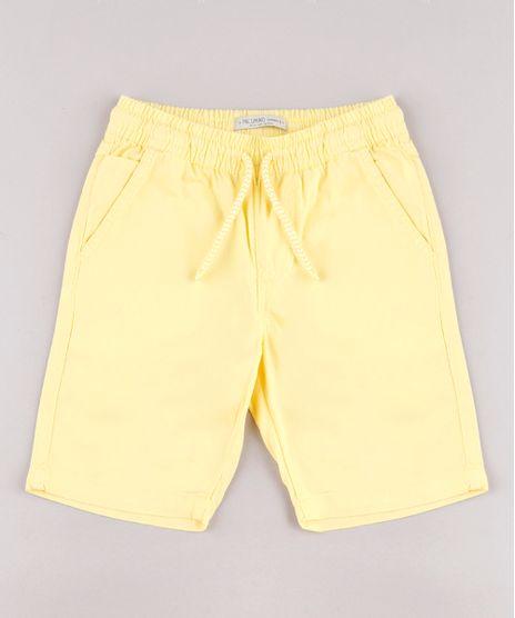Bermuda-de-Sarja-Infantil-Basica-Com-Elastico-Amarelo-9690566-Amarelo_1