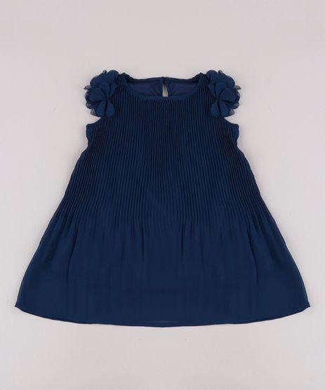 Vestido-Infantil-Plissado-com-Flores-Sem-Manga-Azul-Marinho-9678025-Azul_Marinho_1