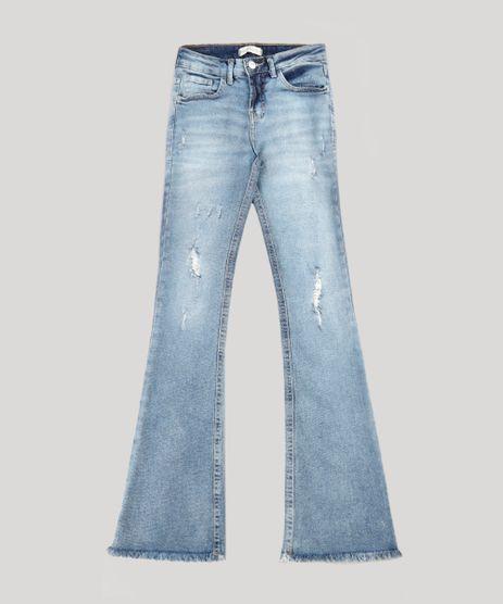 Calca-Jeans-Infantil-Flare-com-Puidos-Barra-Desfiada-Azul-Medio-9751508-Azul_Medio_1