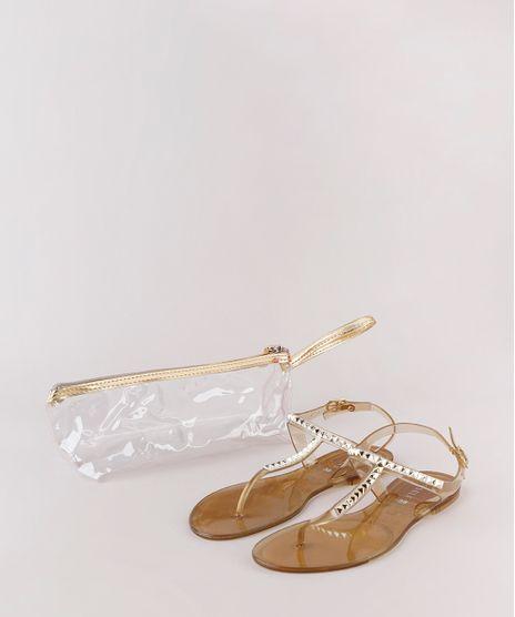 Kit-de-Rasteira-Feminina-Oneself-Transparente-com-Tachas---Necessaire-Dourada-9827565-Dourado_1