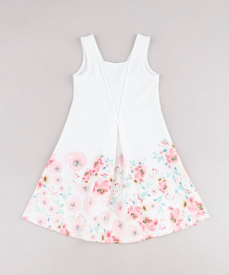 Vestido-Infantil-Texturizado-com-Estampa-Floral-Sem-Manga-Branco-9787566-Branco_1