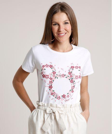 Blusa-Feminina-Mickey-Floral-Manga-Curta-Decote-Redondo-Off-White-9788576-Off_White_1