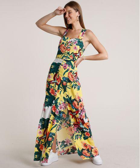 Vestido-Feminino-Longo-Estampado-Floral-com-Fenda-Alca-Larga-Amarelo-9685686-Amarelo_1