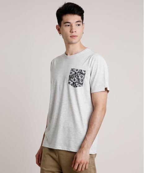 Camiseta-Masculina-com-Bolso-Estampado-Floral-Manga-Curta-Gola-Careca-Cinza-Mescla-Claro-9720311-Cinza_Mescla_Claro_1