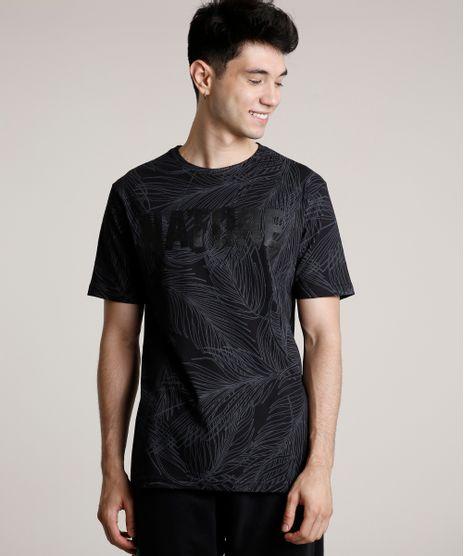 Camiseta-Masculina--Nature--Estampada-de-Folhagem-Manga-Curta-Gola-Careca-Preto-9754391-Preto_1