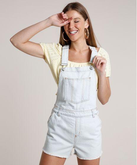 Jardineira-Jeans-Feminina-com-Bolsos-e-Barra-Desfiada-Azul-Claro-9811485-Azul_Claro_1