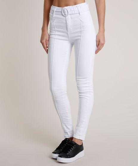 Calca-de-Sarja-Feminina-Sawary-Super-Skinny-Cintura-Alta-com-Cinto-Branca-9811693-Branco_1