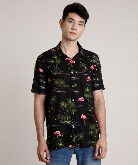 Camisa-Masculina-Estampada-de-Flamingo-Manga-Curta-Preta-9729724-Preto_1