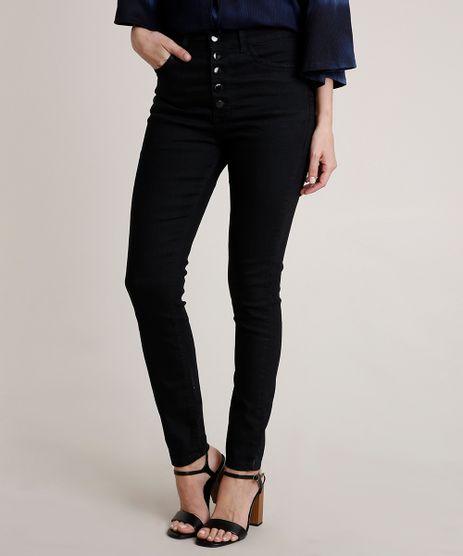Calca-Jeans-Feminina-Skinny-Cintura-Super-Alta-com-Botoes-Preta-9830498-Preto_1