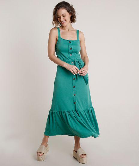 Vestido-Feminino-Midi-com-Babado-e-Faixa-para-Amarrar-Alca-Larga-Verde-9721463-Verde_1