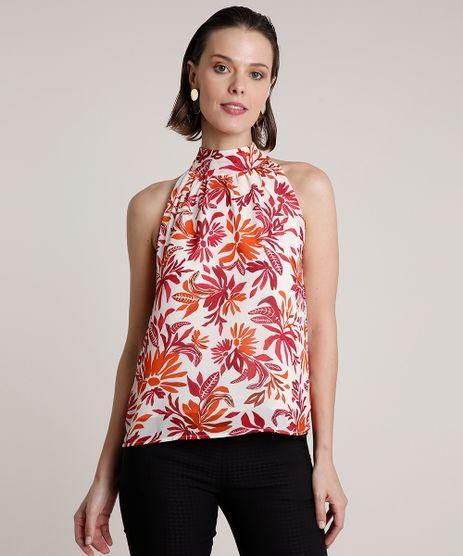 Regata-Feminina-Halter-Neck-Estampada-Floral-com-Franzidos-Bege-Claro-9691220-Bege_Claro_1