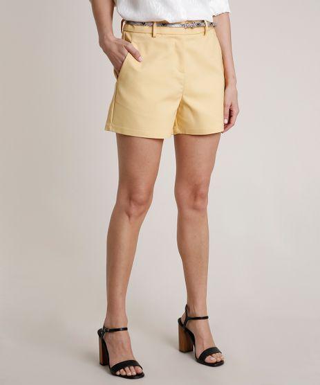 Short-Feminino-Basico-Alfaiatado-com-Cinto-Animal-Print-Amarelo-Claro-9649932-Amarelo_Claro_1