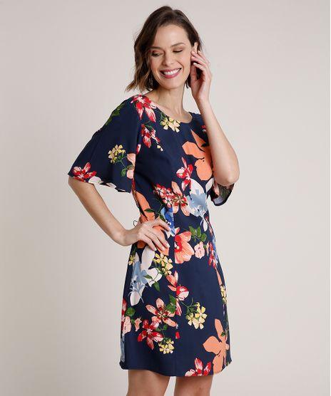 Vestido-Feminino-Curto-Estampado-Floral-com-Vazado-Manga-Curta-Azul-Marinho-9680343-Azul_Marinho_1