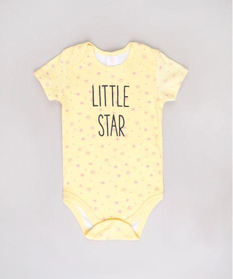 Body-Infantil--Little-Star--Estampado-de-Estrelas-Manga-Curta-Amarelo-9602187-Amarelo_1