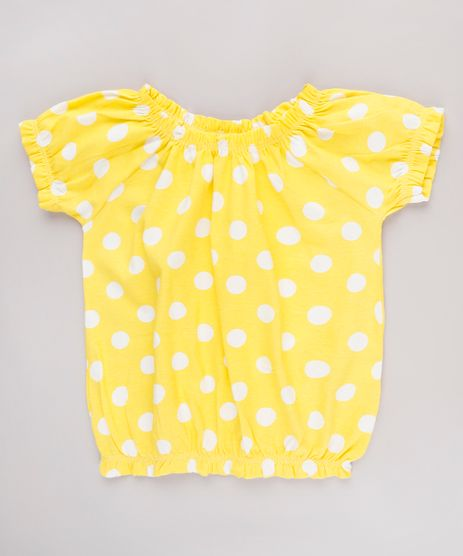 Blusa-Infantil-Ombro-a-Ombro-Estampada-de-Poa-Manga-Curta-Amarela-9826423-Amarelo_1