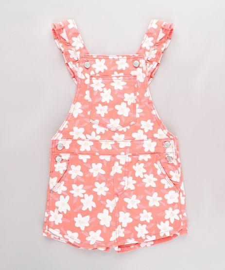 Jardineira-Short-Saia-de-Sarja-Infantil-Estampada-Floral-com-Babado-Coral-9746440-Coral_1