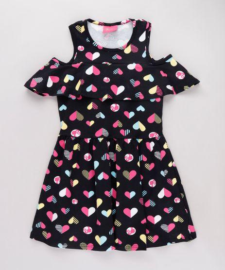 Vestido-Infantil-Open-Shoulder-Barbie-Estampado-de-Coracoes-com-Babado-Manga-Curta-Preto-9785159-Preto_1