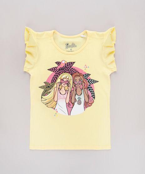 Blusa-Infantil-Barbie-com-Glitter-Babado-na-Manga-Amarela-9762712-Amarelo_1